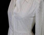 Vintage 1970's Long Sleeve Eyelet Maxi Dress