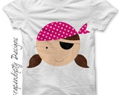 Girl Pirate Iron on Transfer - Kids Girl Clothing Shirt / Pirate Pink Birthday Party Tshirt / Talk Like a Pirate Day / Baby Clothes  IT168