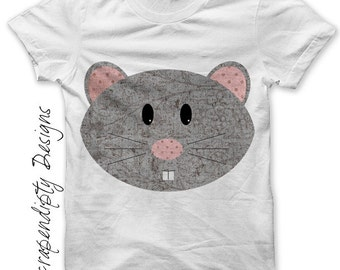 Mouse Iron on Shirt PDF - Animal Iron on Transfer / Grey Girls Mouse Shirt / Gender Neutral Baby Clothes / Boutique Toddler Clothing IT70