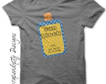 Summer Iron on Transfer - Sunblock Iron on Shirt PDF / Kids Funny Tshirt / Toddler Summer Shirt / Beach Tshirt / Sun Printable Design IT36