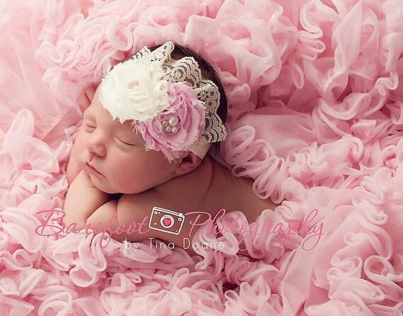 items similar to vintage pink newborn headband photo prop princess newborn baby girl lace shabby