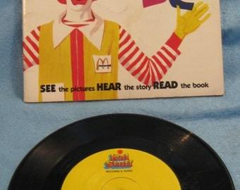 "Ronald McDonald Alphabet 7"" 33 1/3 RPM record and book"