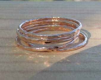 Stacking rings -14K Rose Gold Filled Hammered 16 gauge - Set of five - Delicate Rose gold rings