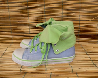 Vintage Pale Blue and Pale Green Ankle Sneakers Size EUR 37/ US Woman 6 1/2