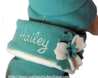 Dog Coat- Blue Fleece - CUSTOM Made Coat For Dog- Handmade Dog Fleece Wrap - Warm Coat for Dog - Winter Dog Coat- Pet Clothing