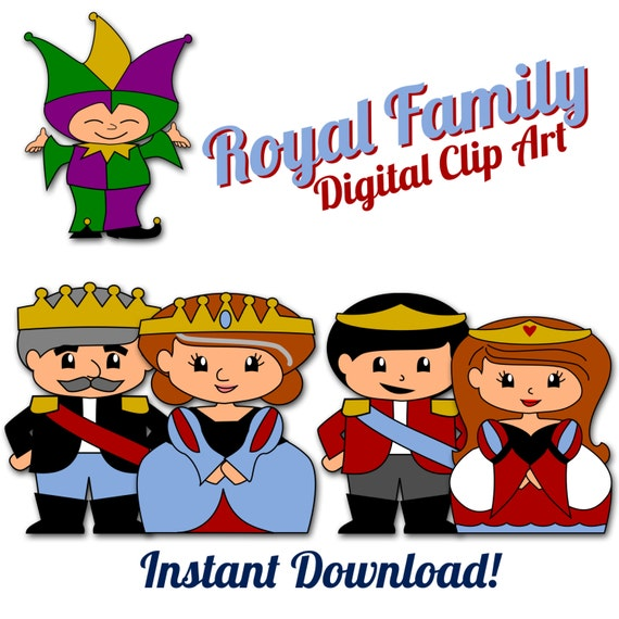King and queen digital clip art prince princess court jester the