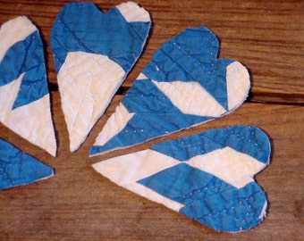 Patchwork Heart Appliques, Shabby Prim Crafting Embellishments, Upcycled Vintage Cutter Quilt Patch, Valentine Card Crafting itsyourcountry