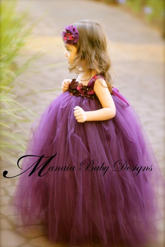 Flower Girl Tutu Dress / Eggplant Flower Girl Dress / Plum