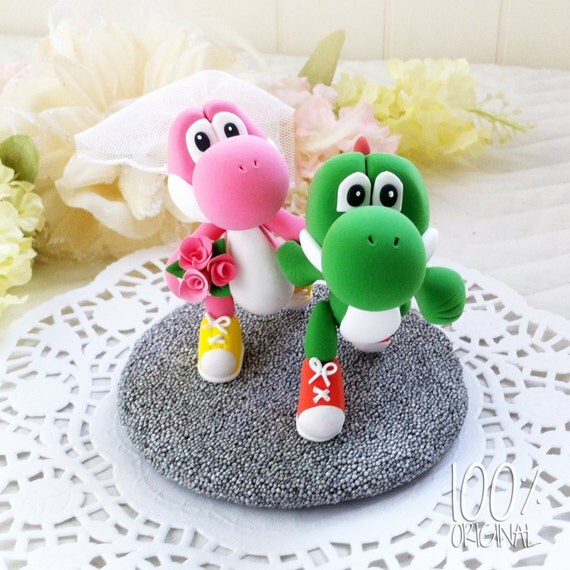 Custom Wedding Cake Topper - Running Yoshi Couple