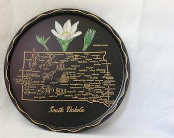 Vintage SOUTH DAKOTA Black Souvenir State Plate / Platter / Tin / Wall Hanging