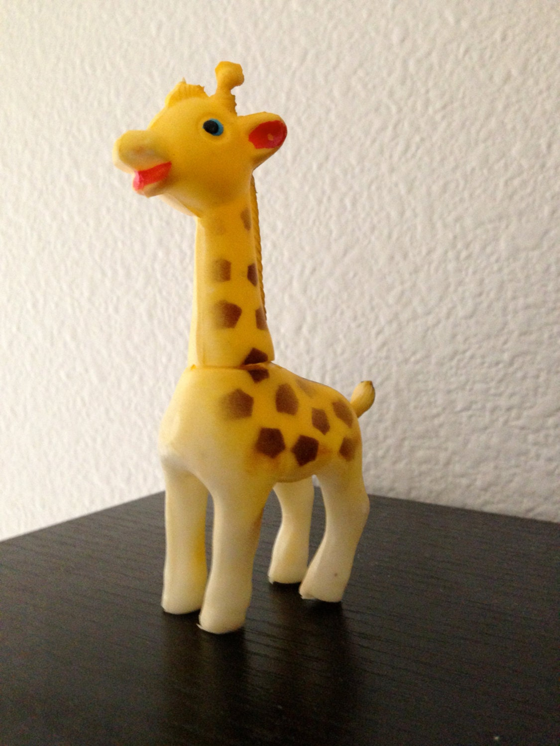 Rubber Yellow Giraffe Squeaky Baby Toy Vintage