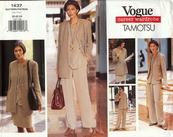 UNCUT Vogue Career Wardrobe TAMOTSU Pattern 1437 - Misses Jacket, Vest, Top, Skirt & Pants - 20-24