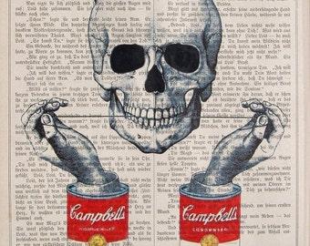 DENTAL HYGIENE Skull Andy Warhol , print, poster, mixed media, painting dictionary skull art