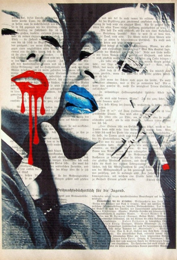 RED & BLUE  giclee print poster mixed media painting illustration drawing