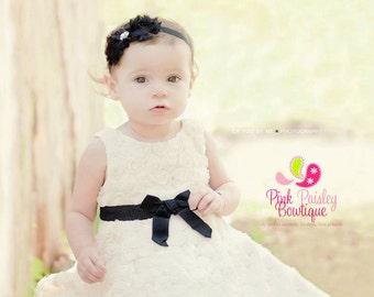 Black Baby Headband - Baby Girl Headbands - Newborn headbands - Black Baby Hairbows - Shabby Headbands - Shabby Flowers