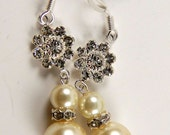 Champagne Glass Pearl Dangle with Swarovski Flower, Bridal, Bridesmaids, Mom of the Bride, Wedding accessories, I DO