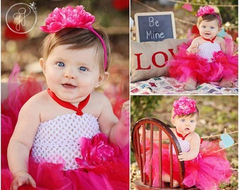 Baby Girls Pink &  Red Colors Tutu Dress with White Crochet Top Photo Prop Party Dress Costume