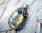 Labradorite Silver Necklace - Olive Gold Necklace - Woodland Fairy - Romantic Pagan - Unique Wire Wrapping - Forest Green Necklace