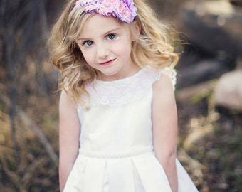 THE EVA Pink and Lavender Nagorie Feather Pad Headband, Hair Clip