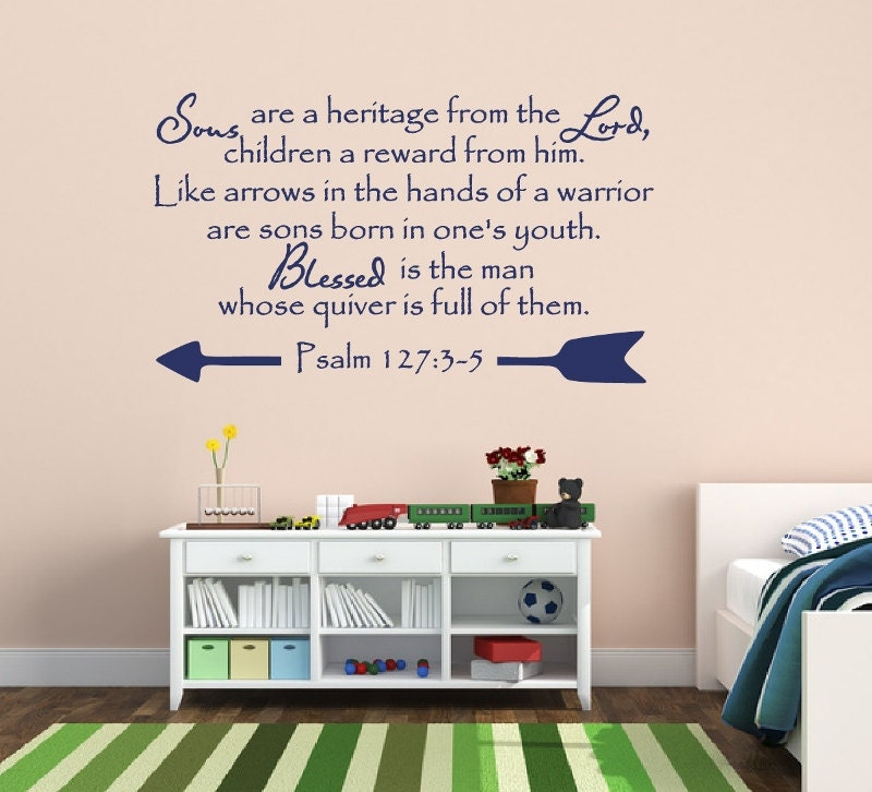 Bible Verse Decorative Wall Stickers : Christian bible verse vinyl wall decal psalm sons