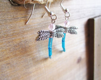 Turquoise Blue Dragonfly Glass Beaded Earrings