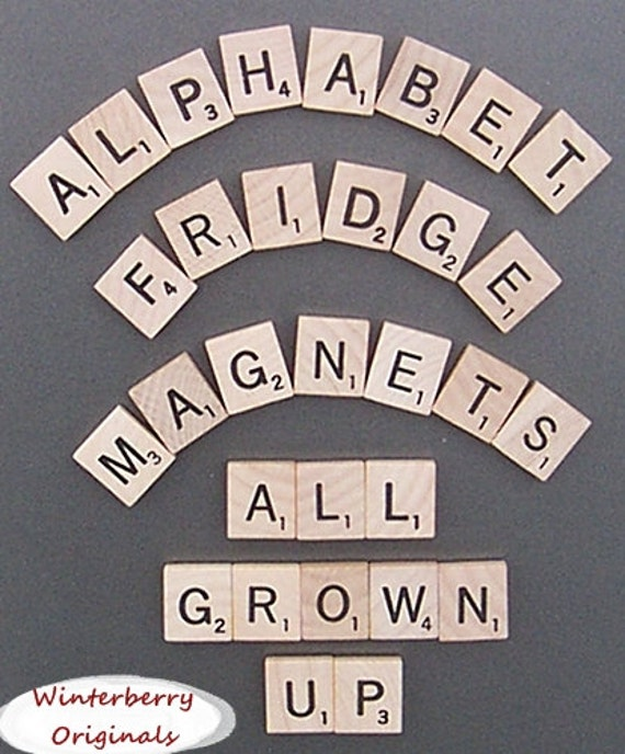 Scrabble Alphabet Refrigerator Magnets . . . .All Grown Up - Learning Toy