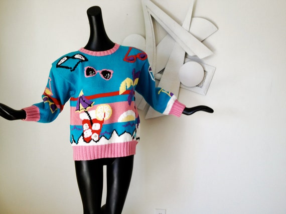 Vintage 80s Sweater 1980s Ugly Sweater Party BIKINI BEACH CLUB