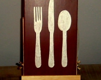 Fork, Knife and Spoon Silverware Sign