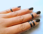 Black Knuckle Rings, Black Midi Band, Above Knuckle Ring, Adjustable Ring, Stacking rings, Edgysheeq statement rings for everyday Flair