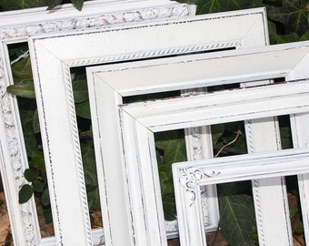 Three 8x10 Shabby Chic Vintage White Hand Painted Distressed Frames Made To Order