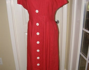 Vintage Dress Gorgeous Red Button Up 2 Pockets by Ambria Bigger Size XLG Low Shipping USA