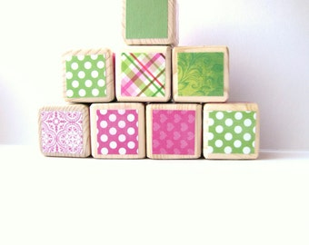 Pink and Green Baby Shower Decoration. Wood Blocks. Lime Green. Modern gift for child. Girl birthday.