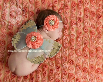 Newborn Butterfly Wings Ready To Ship Sweet Coral Breeze Wings And Headband Set Butterfly Photo Prop Baby Girl Photo Prop Newborn Photo Prop