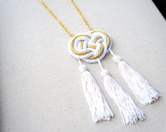 Statement Necklace Gold and White Rope and Tassels