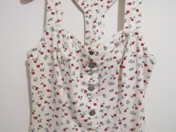 On Reserve for Alley//25% OFF///Vintage 1990's  White Cotton Floral Denim Sweetheart  Wiggle Dress, Size 7 On Reserve