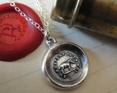 Wax Seal Necklace Elephant - antique wax seal charm jewelry French Strength Wit motto Faith In Myself by RQP Studio