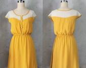 PETIT DEJEUNER MUSTARD - Rich dark yellow dress with polka dot lace illusion neckline // retro // vintage inspired // bridesmaid // day