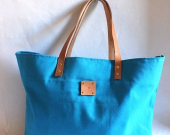 Canvas Tote... SPECIALIZED LABEL...Petite TURQUOISE tote bag
