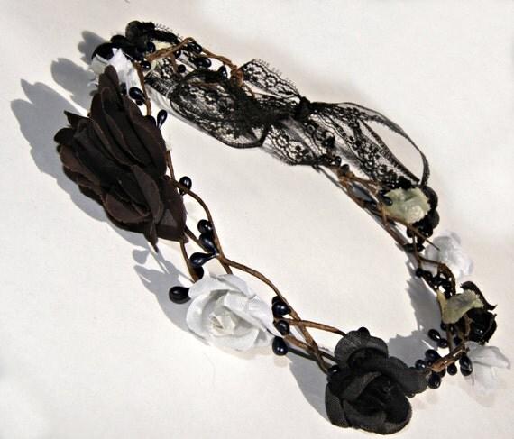 Black Flower Crown Gothic Flower Crown Black Flower: Items Similar To Black Flower Crown , Woodland Wedding