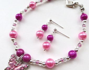 PINK BUTTERFLY- Beaded Bracelet and Earrings Set- Soft Pink and Magenta Pearls with Silver Plated Spacers