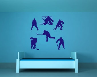 Hockey Decor, Hockey Gifts, Mom, Player, Stick, Goal, Puck, Players, Wall Decal, Vinyl, Sticker, Ice Rink, Home Art, Dorm, Bedroom Decor