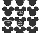 Mickey Mouse Chalkboard Vinyl Labels -set of 25 labels - Birthday Party, Playroom, Minnie Mouse, Favor - FREE CHALK MARKER