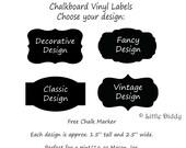 Chalkboard Vinyl Labels - Mason Jar, Pantry, Canisters, Bins, Baskets, Jars - FREE CHALK MARKER