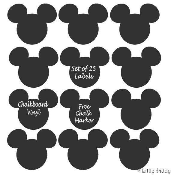 Items Similar To Mickey Mouse Chalkboard Vinyl Labels -set