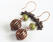 Copper Bow and Green Beaded Earrings Victorian Inspired Edwardian Olive