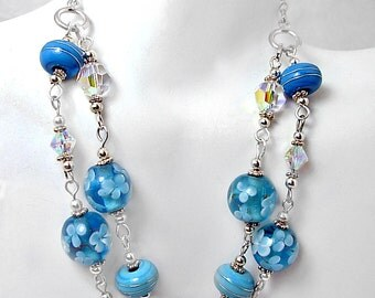 2 Strand Artisan Aqua Blue Lampwork, Crystal & Silver Necklace