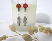 Feather Earrings - with Czech Glass Coin Bead