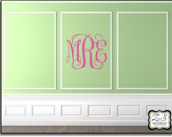 """Personalized Interlocking Vine Monogram Approx. 27""""w x 24""""h- Vinyl Wall Art-vinyl decal  Over 60 color options"""