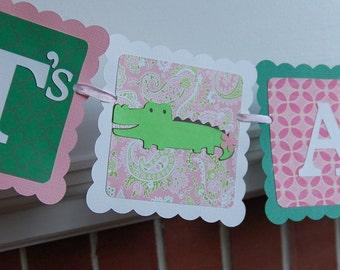 Alligator It's A Girl Banner, Girl Baby Shower, Preppy Alligator, Pink Green Baby Shower, Alligator Baby Shower, Girl