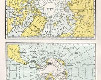 Antique 1950s ARCTIC and ANTARCTIC polar Vintage Map atlas page